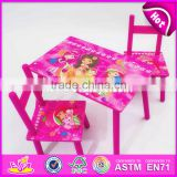 2017 New design home / school / pink wooden girls table and chairs W08G197