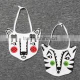 Amazon Hot Customized baby bibs Cotton Safe Baby Bib for cartoon tiger,lion,bear animal printing