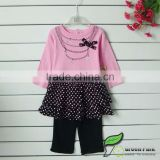 infant baby girls cute pink polk dots dress with black legging sets baby suits girls outfits