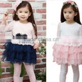 2014 New Baby Girls Long Sleeved Lace dress children's fashion party wear dress kids 2 colors spring clothes