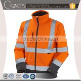 professional zipper 3m orange softshell safety reflective jacket with micro-fleece inner
