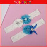 Wholesale Lace Trim White and black Color Shabby Flower Wedding Garter for Bridal