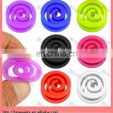2013 new ear piercing jewelry ring Flexible silicone spiral saddle plugs, 0 gauge body jewelry