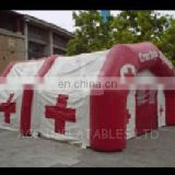 Emergency inflatable arch tent with curtain door