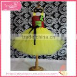 Ceremony occasion bright yellow cotton dress with black mask gauze dress halloween costume                                                                                                         Supplier's Choice