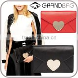 Wholesale Customize Genuine Leather Women Magnetic clasp Clutch Bag Envelope Bag Party Bags with Removable Hand Strap