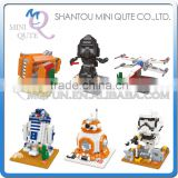 Mini Qute Kawaii WISE HAWK Star War Darth Vader X-Wing Starfighter R2D2 yoda plastic building blocks brick model educational toy