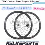 High Quality Chinese carbon wheelset 38mm for road bike 25mm tubular rims 700C UD/3K rim finish 1 set