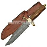 "udk h35"" custom handmade Damascus bowie knife/ hunting knife with beautiful Walnut wood and brass pins handle"