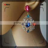 Crystal alloy jewelry copper brass plating gold golden earring designs for women
