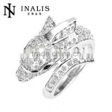 hot New wedding accessories white gold plated zircon deer ring for indian bridal LKN18KRGPR168