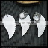 LFD-0025P ~ Druzy Shell Angel wings Pave Rhinestone Crystal Charms Pendants For Necklace Jewelry Making
