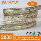 6W/M 2835 smd led epistar chip 328ft 100M flexible waterproof exterior ip67 2835 led strip