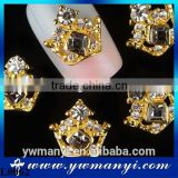New arrival crown nail art jewelry gold plated alloy metal 3d nail decoration L0062