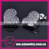 EAR0027 new products 2014 fashion silver heart crystal cheap stud earrings for ladies screw on backs