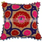 Suzani Cushion Cover Embroidered Pillow Shams Bohemian Pillow Indian Decorative Cushion Cover Pom Pom Lace Cushions