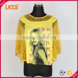 2016 Guangzhou luoqi wholesale price summer casual mesh lady blouse rayon printed ladies blouse
