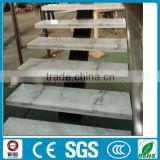 DIY marble stone treads single iron stringer straight stairs