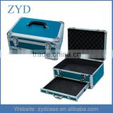 "Blue reinforced steel corners padding aluminum tool case with drawer, 15"" x 8"" x 6"""