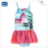 (R6305) 2-8Y baby girls one pieces swimwear summer printed 100% polyester swimsuits nova kids clothes