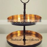 Wrought Iron 2 Tier Cake Stand, Metal Wedding Cake Stands ,Metal 2 Tier Candy Stand