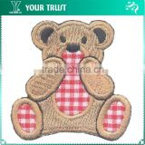 Brown Toy Bear Cover Mouth Iron-on Custom Embroidery Badge Patches
