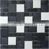 GST047-5 famous pattern mosaic glass mix stone mosaic tiles marble herringbone mosaic tile