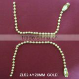 Gold plating ball chain with connector