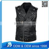 Wholesale Leather Vest With Zippers Biker Leather Waistcoat