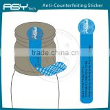 Anti-Counterfeit Feature security warranty VOID seal sticker