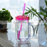 Cheap Colorful Double Wall Plastic Screw on Lid Mason Jar with Handles for Wholesale or Promotion
