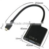CABLETOLINK 1080P MicroHDMI to VGA Video Converter Adapter Cable For PC Monitor Projector