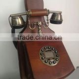 Vintage Brown Wall Telephone High Class Home Decorative Wall Mount Telephone, Antique Wooden Telephone
