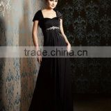 Hot sale removable wrap sweetheart beaded black mother of the bride dresses CWFam5256