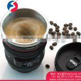 300-400ml Camera Lens Design Stainless Steel Coffee Self Stirring Mug
