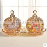 3pieces of one set home table centerpieces colourful crystal glass jars with lid terarium for food