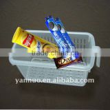 Plastic storage container rack in refrigerator