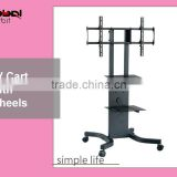 Simple design TV floor stand with wheels, vertical adjustable TV mount bracket