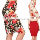 office Ladies skirt designs 2018 Navy & Red Floral classic pencil skirt Women Office Wear