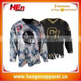 Hongen apparel Heavy rib knitted lace-up neck custom team sublimation professional ice hockey jerseys