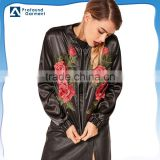 latest fashion floral womens clothing flower designs black embroidered satin bomber jacket for men and women custom in new style