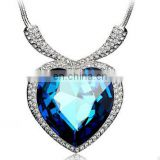 Neoglory Crystals Titanic Heart Ocean Love Necklaces & Pendants for Women Fashion Jewelry Birthday Best Friends Gifts
