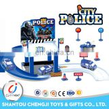 New arrival sliding parking lot police model set blue track toys