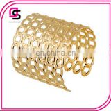 New fashion jwewlry gold wide hollow out alloy hook-ups cuff bracelet