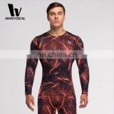 Men Running Long-sleeve Shirts Compression Shirts With Brand Logo And Magma Pattern Printing Workout Clothing Wholesale