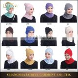 Latest fashion women inner hijab single-lift cross drilling hot bottoming lace cap islamic under scarf