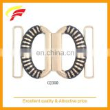 fashion zinc alloy two half rings joint buckle, two pieces interlocking metal belt buckle for 60mm elastic belt