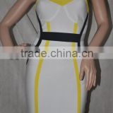 wholesale 2015 new arrial white yellow black strap sey women mini evening party prom patchwork sleeveless sling bandage Dresses