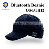Acrylic material custom black bluetooth knitted beanie hat