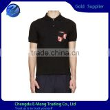 Wholesale Fashion Mens Embroidery Dry Fit Polo Tshirts in Black